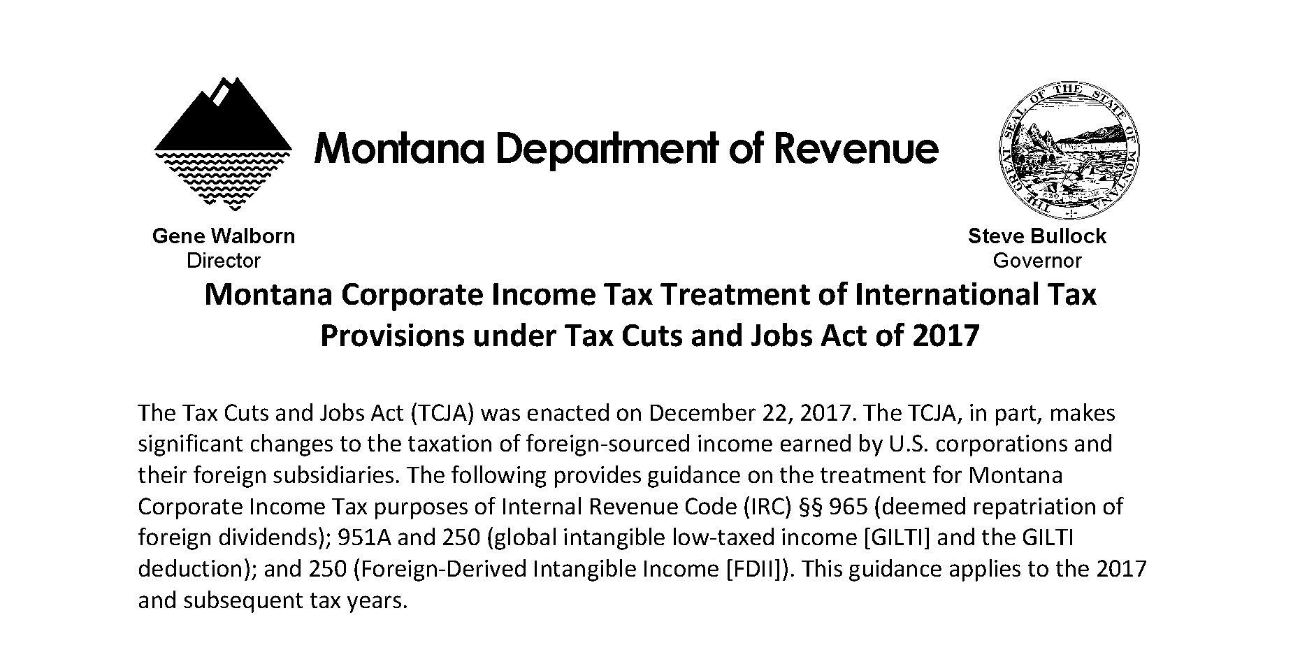 Montana Corporate Income Tax Treatment of International Tax Provisions under Tax Cuts and Jobs Act of 2017 Memo Preview Image
